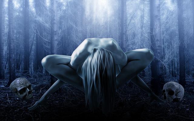 v lese za úplňku